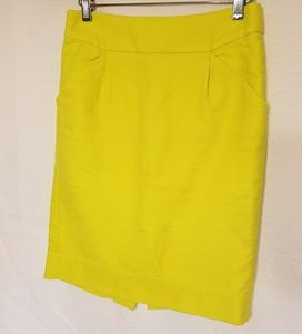 Yellow fitted straight skirt
